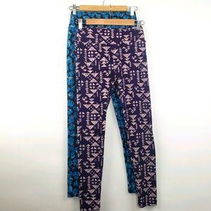 3/$25 Bundle 2 LulaRoe Leggingd Teal Poppy Purple